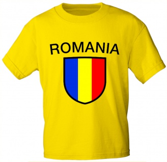 T-Shirt mit Print - Wappen Fahne Flagge Romania Rumänien - 76434 gelb Gr. XL