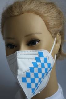 1x FFP2 Maske Deutsche Herstellung CE zertifiziert mit Aufdruck - Bayern Rauten