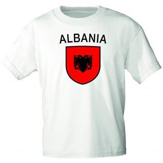 Kinder-T-Shirt mit Print - Wappen Albanien - 76008 weiß - Gr. 134/146