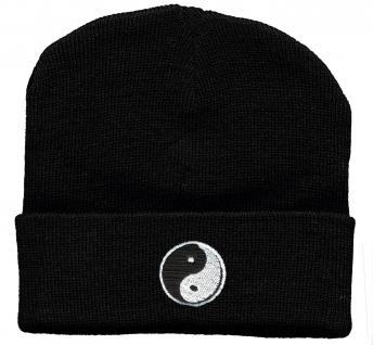 HIP-HOP Mütze Strickmütze mit Einstickung ? Ying und Yang - 56508 schwarz