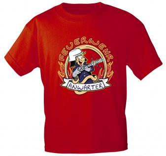 Kinder T-Shirt mit Print - Feuerwehr Anwärter - 06909 versch. Farben zur Wahl - Gr. 86 - 164 rot / 122/128