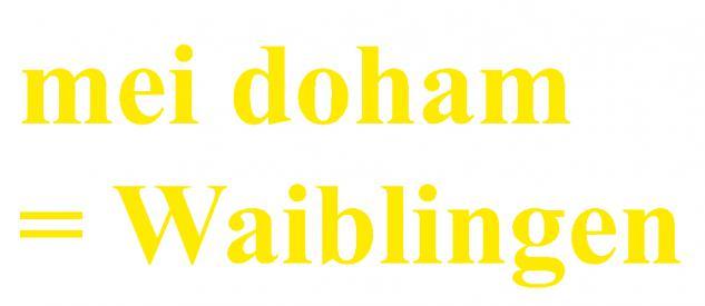 "PVC- Applikations- Aufkleber "" Mei doham= Waiblingen"" 25 cm groß in 8 Farben AP3032 gelb"