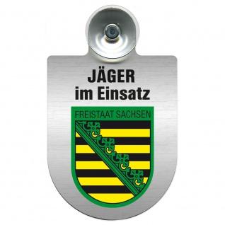 Einsatzschild mit Saugnapf Jäger im Einsatz 393821 Region Freistaat Sachsen