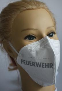 1x FFP2 Maske Deutsche Herstellung CE zertifiziert mit Aufdruck - Feuerwehr links