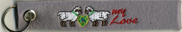 Filz-Schlüsselanhänger mit Stick - I love my Sheep - Gr. ca. 17x3cm - 14089