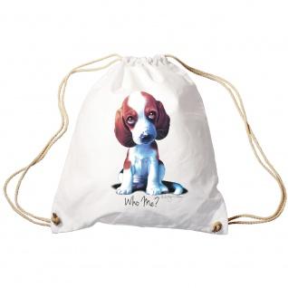 Trendbag Sporttasche Turnbeutel Print Hundewelpen Beagle Who Me ? 65142 versch. Farben weiß