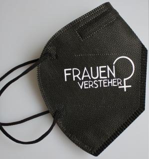 1 FFP2 Maske in Schwarz Deutsche Herstellung mit Print - Frauenversteher - 15278