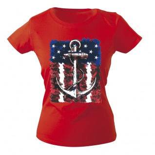 Girly-Shirt mit Print Maritim Anker Anchor G12128 Gr. rot / XS