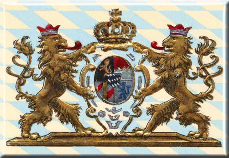Kühlschrankmagnet - Nostalgiemotiv Krone Löwen Bayern - Gr. ca. 8 x 5, 5 cm - 38741 - Küchenmagnet