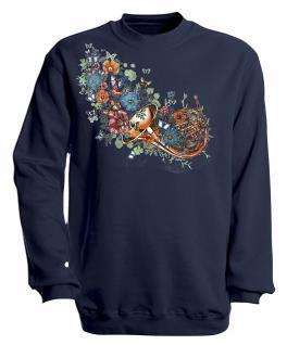 Sweatshirt mit Print - Trompete - S10283 - versch. farben zur Wahl - Gr. Navy / XXL