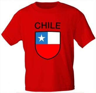 T-Shirt mit Print Wappen Fahne Chile 76336 rot Gr. 3XL