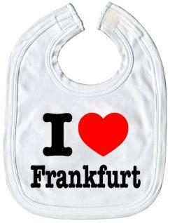 Baby-Lätzchen mit Druckmotiv - I love Frankfurt - 07049 - weiss