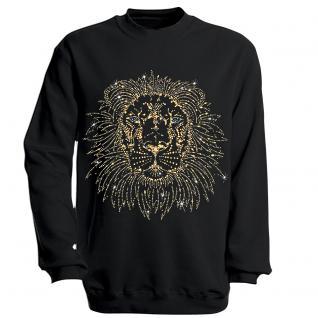 Sweatshirt mit Print - Löwe - schwarz - S12859 - Gr. XL