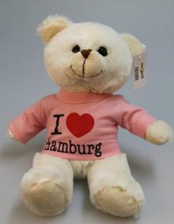 Plüsch - Teddybär mit Shirt - I Love Hamburg - Größe ca 26cm - 27064