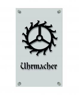 Zunftschild Handwerkerschild - Uhrmacher - beschriftet auf edler Acryl-Kunststoff-Platte ? 309402 schwarz