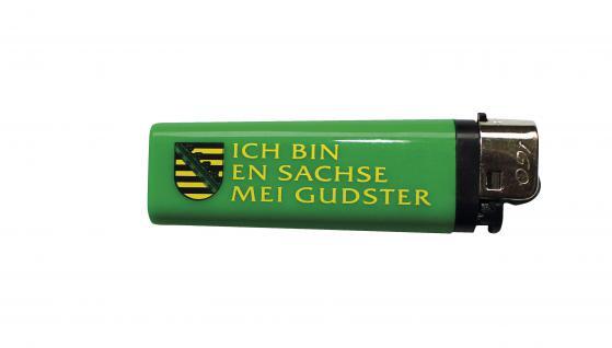 Einwegfeuerzeug Anzünder Feuerzeug - Ich bin en Sachse mei Gudster - 01117 grün