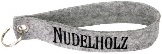 Filz-Schlüsselanhänger mit Stick Nudelholz Gr. ca. 17x3cm 14211 grau