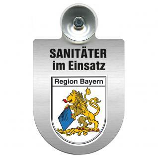 Einsatzschild Windschutzscheibe incl. Saugnapf - Sanitäter im Einsatz - 309396- Regionen nach Wahl Region Bayern