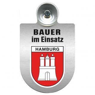 Einsatzschild Windschutzscheibe incl. Saugnapf - Bauer im Einsatz - 309736-15 Region Hamburg