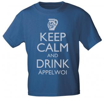 T-Shirt mit Print - Keep calm and drink Äppelwoi - 12912 - versch. Farben zur Wahl - Gr. S-2XL blau / XL