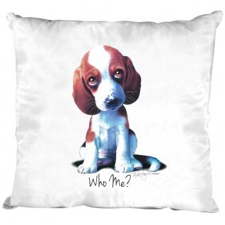 Kissen Dekokissen mit Print - Beagle Hundewelpen Who Me ? - 11685 versch. Farben