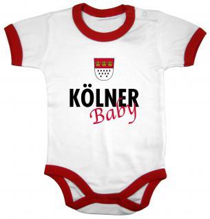 Babystrampler mit Print - Kölner Baby - 08324 weiß-rot - Gr. 0-24 Monate