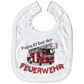 Baby-Lätzchen mit Druckmotiv - Papa ist bei der Feuerwehr - 07083 weiß