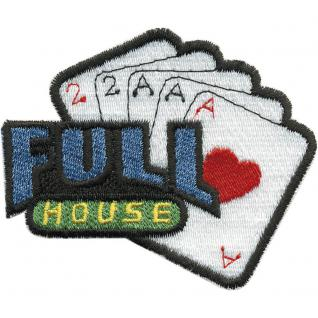 Aufnäher - Spielkarten Full House - 04413 - Gr. ca. 7 x 5 cm - Patches Stick Applikation