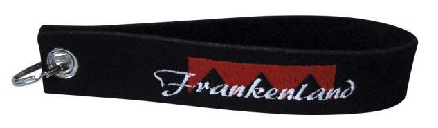 Filz-Schlüsselanhänger mit Stick FRANKENLAND Gr. ca. 17x3cm 14060 Keyholder schwarz