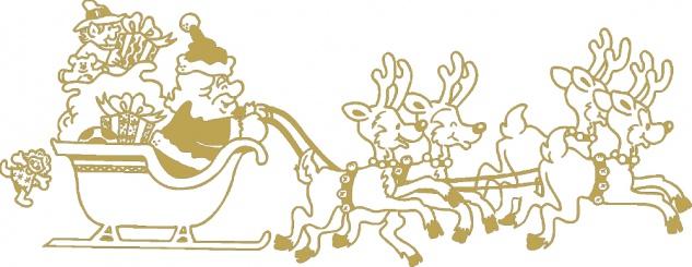 Wandtattoo Dekorfolie Weihnachtsmann mit Schlitten WD0807 - gold / 120cm