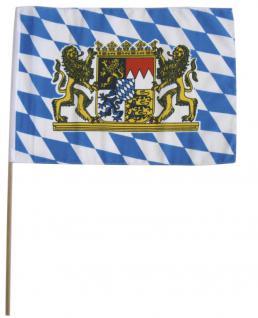 Stockfahne Fahne Flagge 30 x 40 cm - Wappen Bayern - 07616
