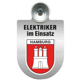 Einsatzschild für Windschutzscheibe incl. Saugnapf - Elektriker im Einsatz - 309489-15 Region Hamburg