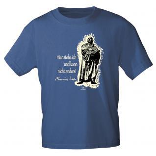 T-Shirt unisex mit Aufdruck in 6 Farben Luther Gr. S ?XXL 09705 blau / S