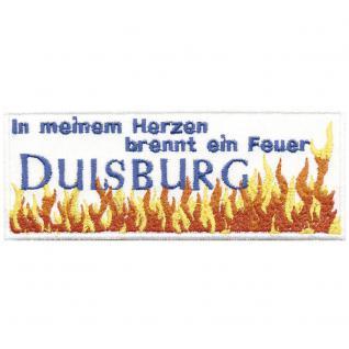 Applikation Patches Aufnäher Abzeichen - DUISBURG In meinem Herzen.. - Gr. ca. 12cm x 5cm (00496) Region Landeswappen Städtewappen