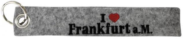 Filz-Schlüsselanhänger mit Stick I love Frankfurt a.M. Gr. ca. 17x3cm 14140 grau