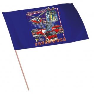 Fahne Stockfahne - Feuerwehr - 07675 - Gr. ca. 40x30 cm