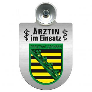 Einsatzschild Windschutzscheibe incl. Saugnapf - Ärztin im Einsatz - 309479-3 Region Freistaat Sachsen