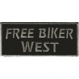 AUFNÄHER - Free Biker West - 03136 - Gr. ca. 9 x 4 cm - Patches Stick Applikation