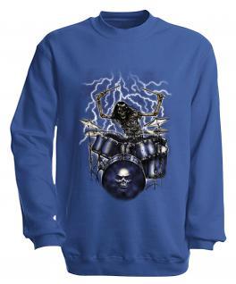 Sweatshirt mit Print - Drummer - S10244 - versch. farben zur Wahl - Gr. Royal / L
