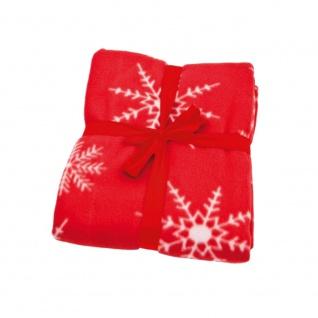 3882 Fleecedecke Kuscheldecke rot mit weißen Schneeflocken 31771
