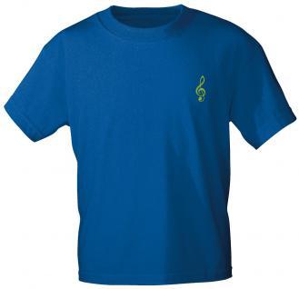 Marken- T-Shirt mit Motiv-Einstickung - Notenschlüssel - 10305 - versch. Farben zur Wahl - blau / S