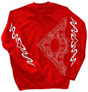 Sweatshirt mit Print - Tattoo - 10118 - versch. farben zur Wahl - rot / S