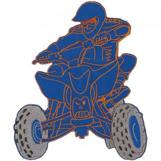 Rückenaufnäher - Quadfahrer - 88565 blau - Gr. ca. 23 x 25 cm - Patches Stick Applikation
