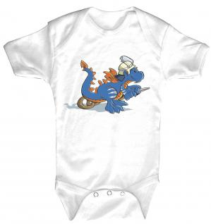 Baby-Body Babystrampler mit Print - blauer Drache - Feuerwehr - 12713 - 6-12 Monate