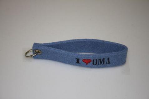 Filz-Schlüsselanhänger mit Stick I love Oma Gr. ca. 17x3cm 14261 blau