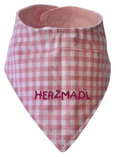 Dreiecktuch mit Einstickung -HERZMADL- 12209 rosa-weiß kariert
