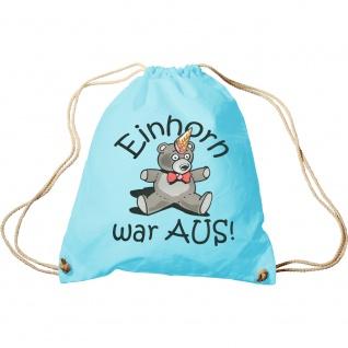 Trendbag Turnbeutel Teddybär Einhorn war aus 65085 hellblau