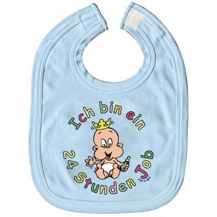 Baby-Lätzchen mit Druckmotiv - Ich bin ein 24 Stunden Job - 07026 hellblau