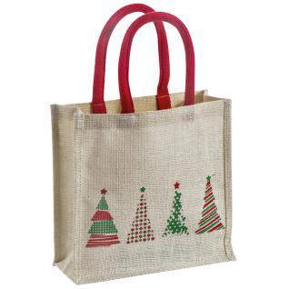 Jute-Tasche - Weihnachtsmotiv - 74129 - Shopper Weihnachten Geschenktasche Tragetasche
