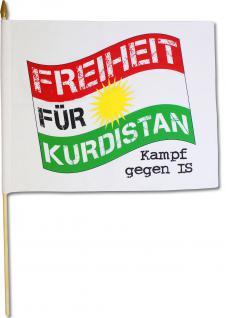 Stockfahne - FREIHEIT FÜR KURDISTAN - Kampf gegen IS - Gr. ca. 42x33cm - 07683 - Flagge mit Holzstock Länderfahne